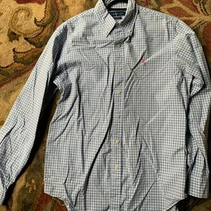 Ralph Lauren Button Down Shirt, Blue Checked